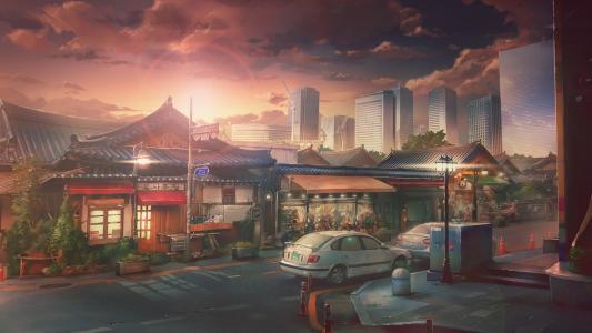 手绘城市的黄昏