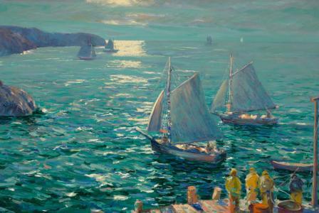 远航的帆船油画