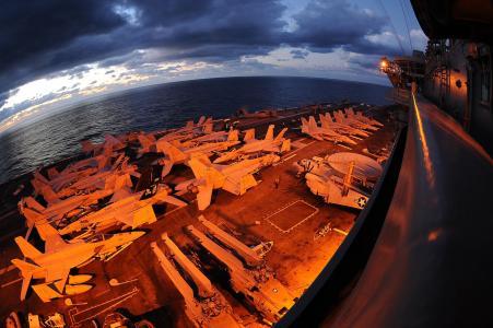 采取美国海军航空母舰全高清壁纸和背景上的鱼眼镜头