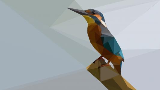 翠鸟低聚4k超高清壁纸和背景