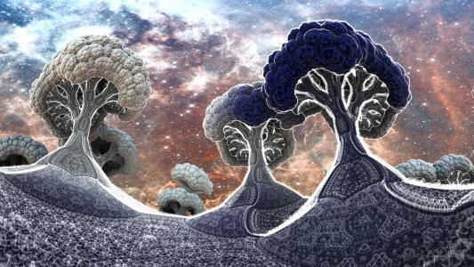 西兰花行星在冬天 -  3d分形艺术全高清壁纸和背景
