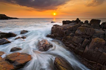 落日海洋全高清壁纸和背景图像