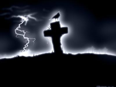 在十字架上的乌鸦墙纸和背景