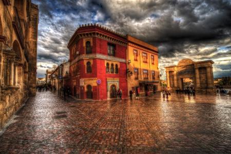 在科尔多瓦,西班牙城镇广场全高清壁纸和背景
