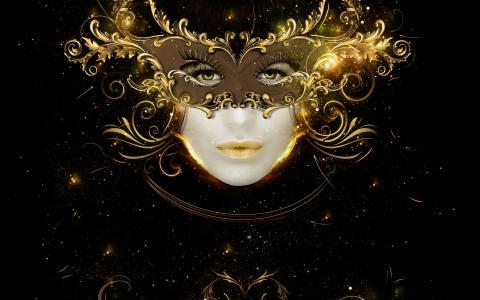 金面具全高清壁纸和背景的女孩