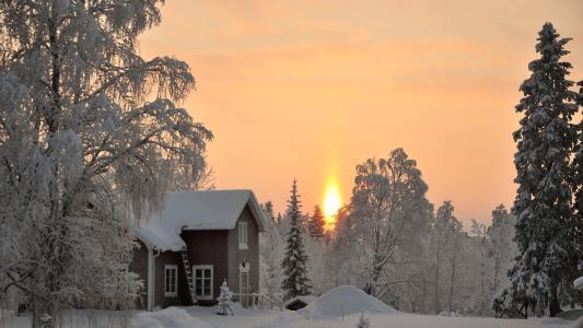 冬季日落全高清壁纸和背景