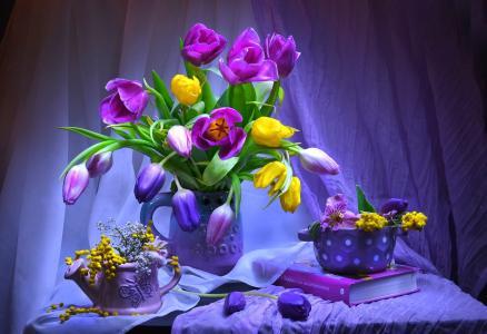紫色静物画墙纸和背景