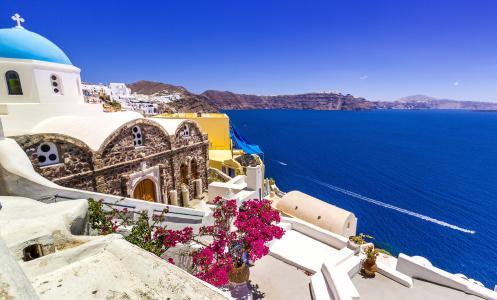 房子在希腊圣托里尼岛4k超高清壁纸和背景图像