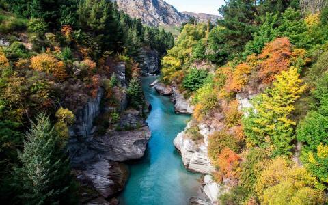 在秋季全高清壁纸和背景图像的山区河流