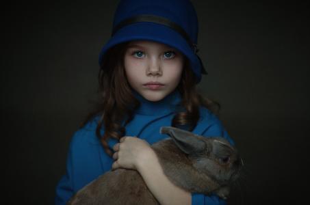 兔全高清壁纸和背景的小女孩