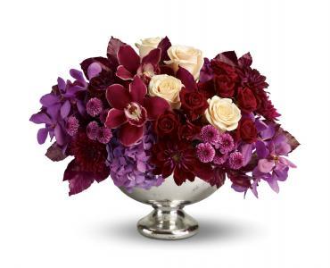 兰花,玫瑰和银碗里的菊花全高清壁纸和背景